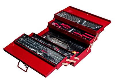 """Набор инструментов 108 предметов 1/4"""",1/2"""" в переносном инстр. ящике 535х258х225мм (5 лотков) JTC-В108"""